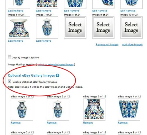 Optional eBay Gallery Image selector on the Auctiva One-Page Lister